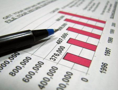 Closeup of tax graph and pen