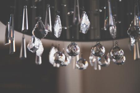 Closeup Photo of Clear Cut Glass Chandelier