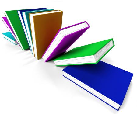 Colorful Books On A Shelf Shows Learning Or Education