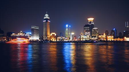 Colorful Coastal Cityscape at Night
