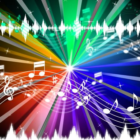 Colorful Music Background Means Brightness Beams And Singing