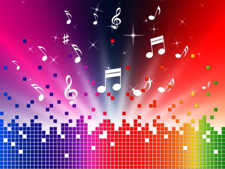 Colorful Music Background Shows Sounds Jazz And Harmony