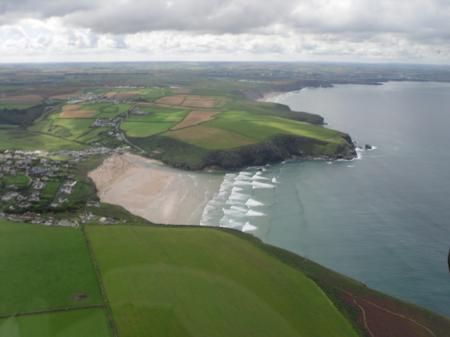 Cornish coast aerial view