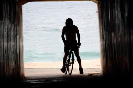 Cyclist in tunnel