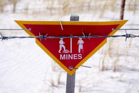 Danger - Land Mine sign in the Falklands