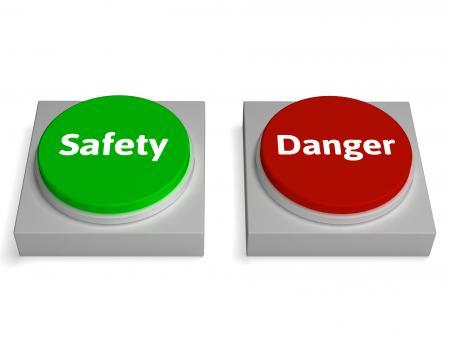 Danger Safety Buttons Show Safe Or Harmful