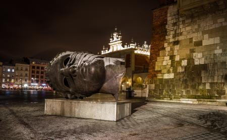 Eros Bendato Head sculpture on Market Square, Krakow, Poland
