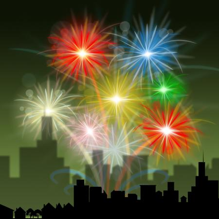 Fireworks City Indicates Night Sky And Celebration