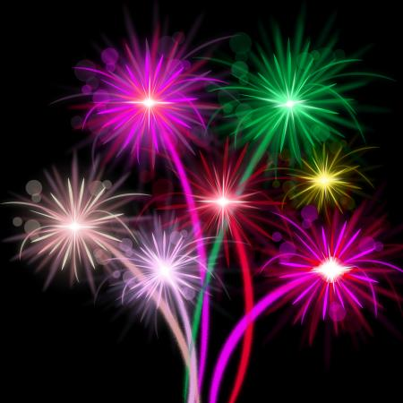 Fireworks Color Represents Explosion Background And Celebrate