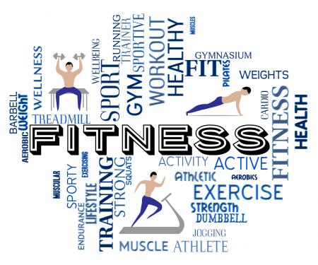 Fitness Words Represents Work Out And Exercising