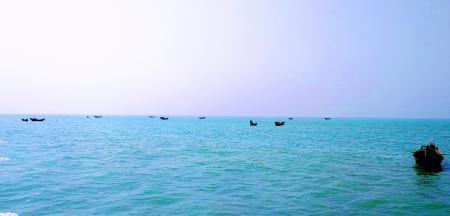 Floating Fishing Boat in Naf River