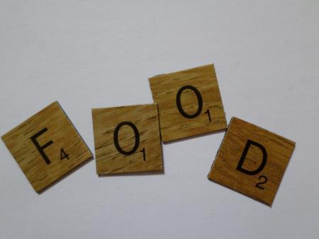 Food scrabble style tiles