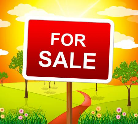 For Sale Indicates Real Estate Agent And Placard