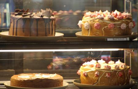 Four big cakes in the showcase