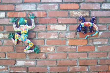 Frog and Lizard on Brick Wall