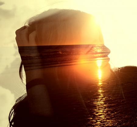 Girl on the Beach at Sunset - Double Exposure Effect