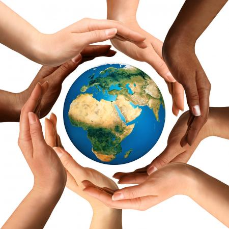 Globe holding hand