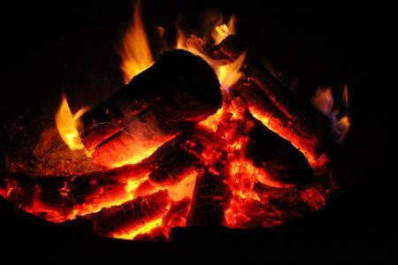 Glowing red hot coals
