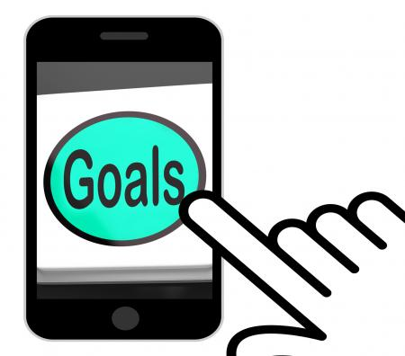 Goals Button Displays Aims Objectives Or Aspirations