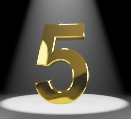 Gold Five Or 5 3d Number Closeup Representing Anniversary Or Birthday