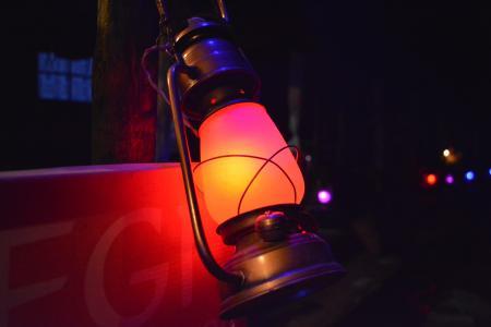 Gray Steel Kerosene Lamp