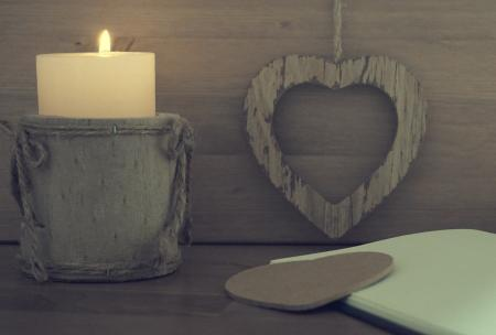 Gray Wooden Candle Holder
