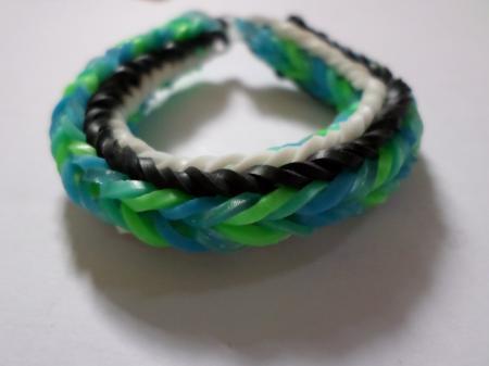 Green, blue, black and white loom bracel
