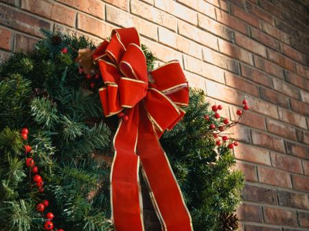 Green Christmas Wreath With Red Bow