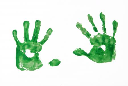 Green handprints