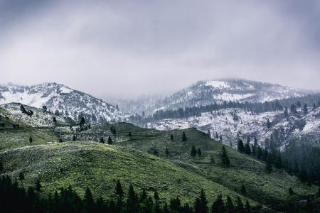 Green Mountain Covered by Snow