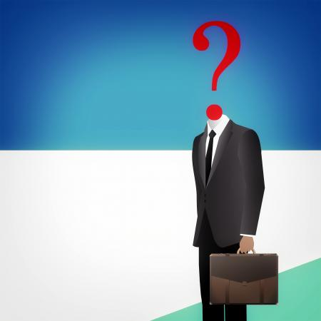 Headless businessman with question mark