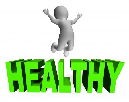 Healthy Character Indicates Wellness Jumps