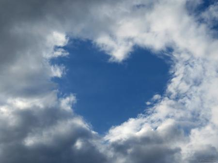 Heart On Heart Clouds Shows Romantic Heaven Or In Love Sensation