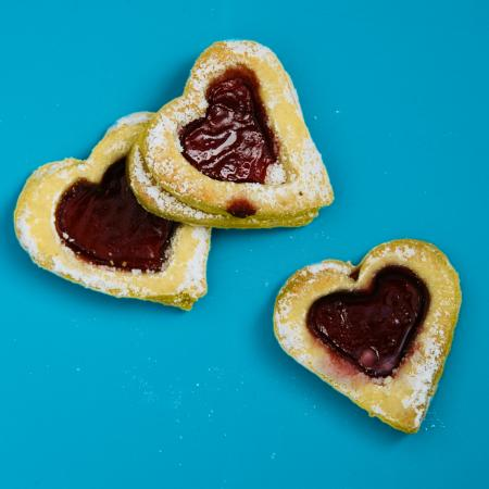 Heart Shaped Cookies On Blue Surface