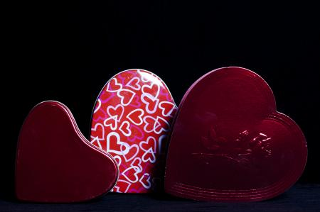 Heart Shaped Gift Boxes on Black