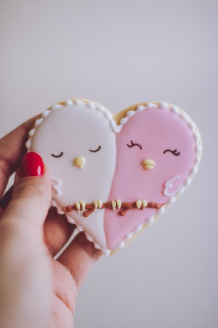Heart-shaped White and Pink Cookie