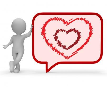 Heart Speech Bubble Represents Valentine Day 3d Rendering