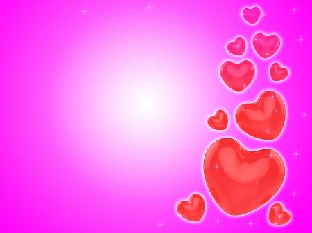 Hearts On Background Show Romantic Couple Or Dating