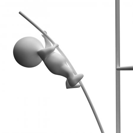 High Jump 3d Character Showing Achievement And Success