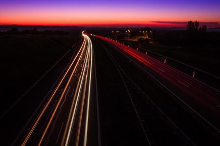 Highway Sunset, light trails, Poland