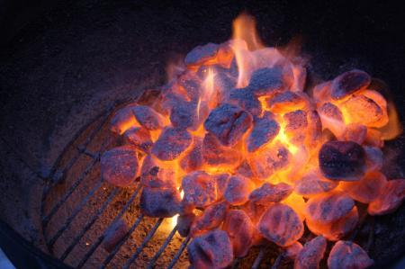 Hot coals in grill