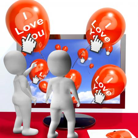 I Love You Balloons Represent Internet Greetings for Lovers