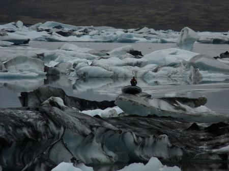Icebergs in glacier lake