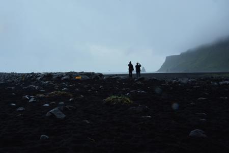 Iceland, black beach in rain