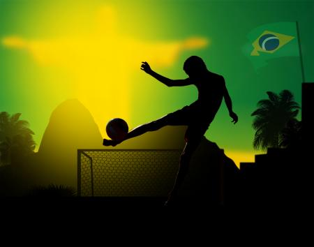 Illustration of a kid playing soccer in Rio de Janeiro