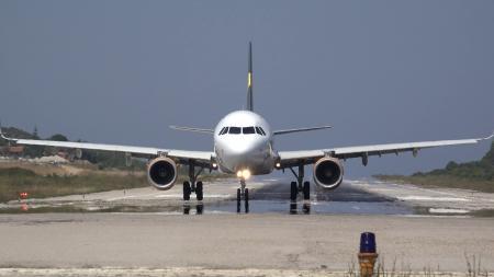 Jetliner approaching runway