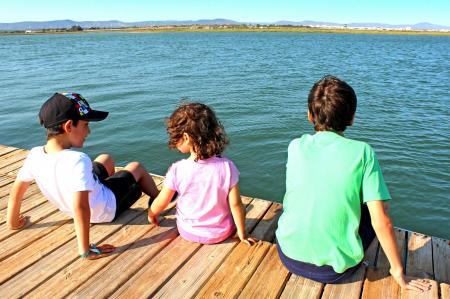 Kids socializing on the pier