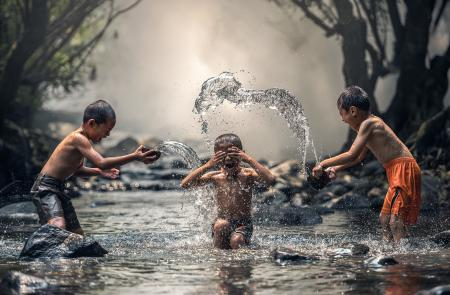 Kids Taking Bath