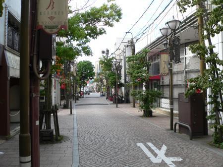 Kyomise cobbelstone shopping street in Matsue, Japan