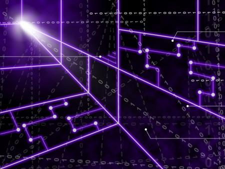 Laser Circuit Background Shows Bright Energy Wallpaper Or Shining Art